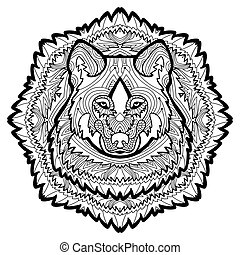 Animal concept. Line design. The head of a wolf.