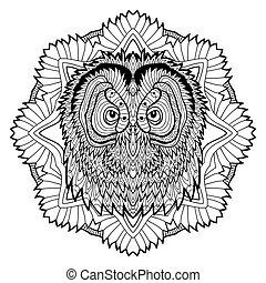 Animal concept. Line design. The head of a owl.