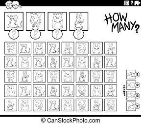 animal, contar, tarea, cómo, color, página, caracteres, ...