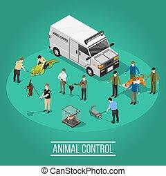 Animal Control Isometric Composition - Wild animal control...