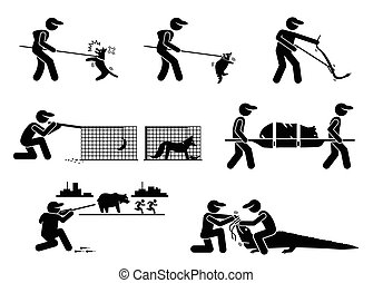 Animal Control Service and Equipments Stick Figure Pictogram Icons.