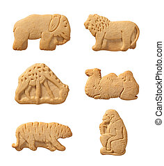 Animal Crackers isolated on a white background