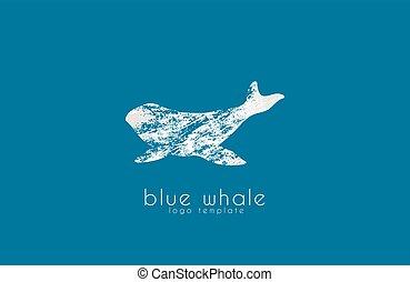 animal, creativo, agua, mar, logotipo, ballena, océano, logo., design.