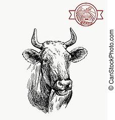 animal, crianza, cow., ganado, gris, ilustración, husbandry.