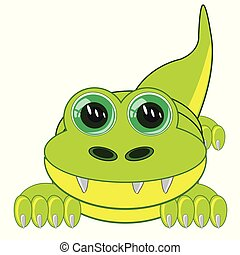 Animal crocodile on white background is insulated - Vector...