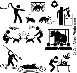 A set of pictograms representing the cruel activity of animal abusers on animals.