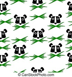 Animal cute seamless pattern, panda face and bunch of green grass
