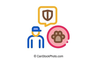 animal defender protector Icon Animation. color animal defender protector animated icon on white background