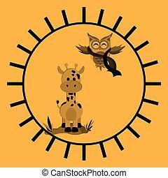Animal design. owl and giraffe  icon. Isolated illustration , vector