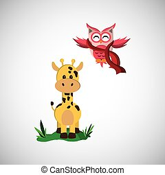 Animal design. owl and giraffe  icon. Isolated illustration , vector