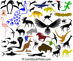 Collection of designs of animal shapes