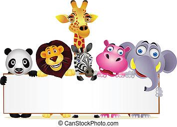 animal, dessin animé, et, signe blanc