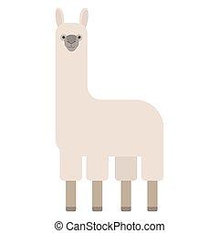 animal, dibujo, lindo, blanco, doodle., llama, salvaje