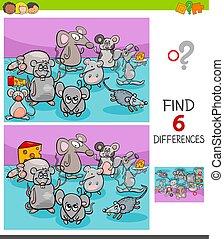 animal, différences, souris, jeu, caractères