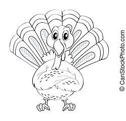 Animal doodle for wild turkey