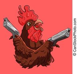 animal, el suyo, armas de fuego, manos, gallo, fresco,...
