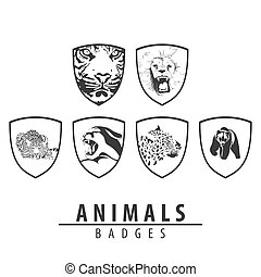 Animal emblem on white background