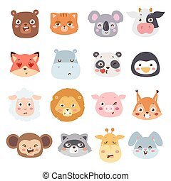 Animal emotions vector illustration.
