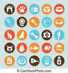 animal estimação, adesivos, jogo, ico, vetorial
