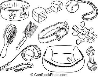 animal estimação, -, cão, ilustração, acessórios, equipamento, hand-drawn