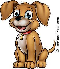 animal estimação, caricatura, cão