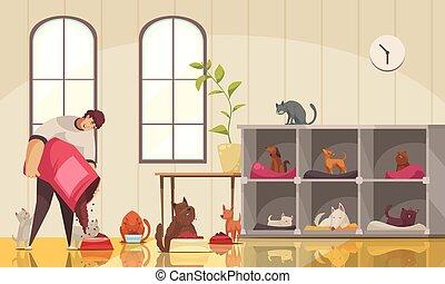 animal estimação, composição, sitter, trabalho