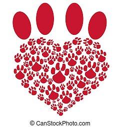 animal estimação, coração, vermelho, pata