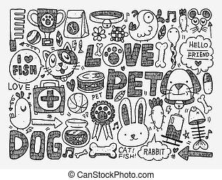 animal estimação, doodle, fundo