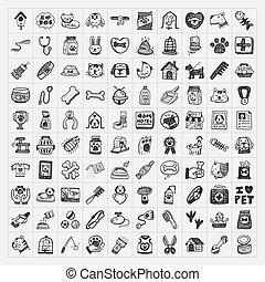 animal estimação, doodle, jogo, ícones
