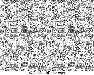 animal estimação, doodle, seamless, padrão