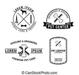animal estimação, emblema, centro