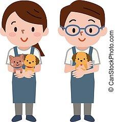 animal estimação, escriturário, jovem, segurando