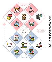 animal estimação, jogo, vetorial, ícone