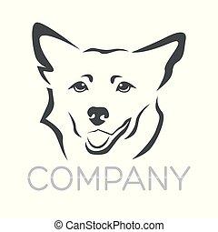 animal estimação, logotipo, cão