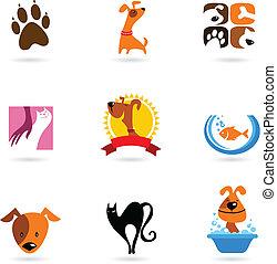 animal estimação, logotipos, ícones