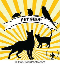 animal estimação, loja, anunciando