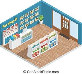 animal estimação, loja, interior, composição