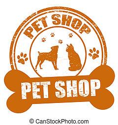 animal estimação, loja, selo