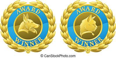 animal estimação, medalhas, cão, ouro, gato
