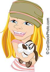 animal estimação, menina sorridente, abraçando, cão