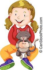 animal estimação, menininha, abraçando, gato