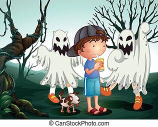animal estimação, menino, fantasmas, seu, cemitério