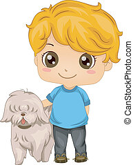 animal estimação, menino, pequeno, cão