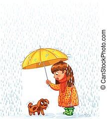 animal estimação, outono, proteja, chuva