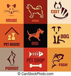 animal estimação, símbolo, cobrança, vindima, emblemas, jogo