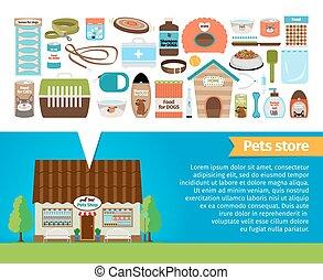 animal estimação, shop., animais estimação, acessórios, e,...