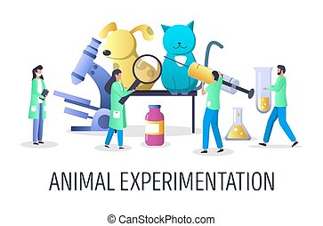 Animal experimentation vector concept for web banner, website page