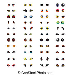 Animal eyes big vector set