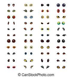 Animal eyes big vector set