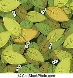 Animal Eyes Inside Green Leaves Seamless Background